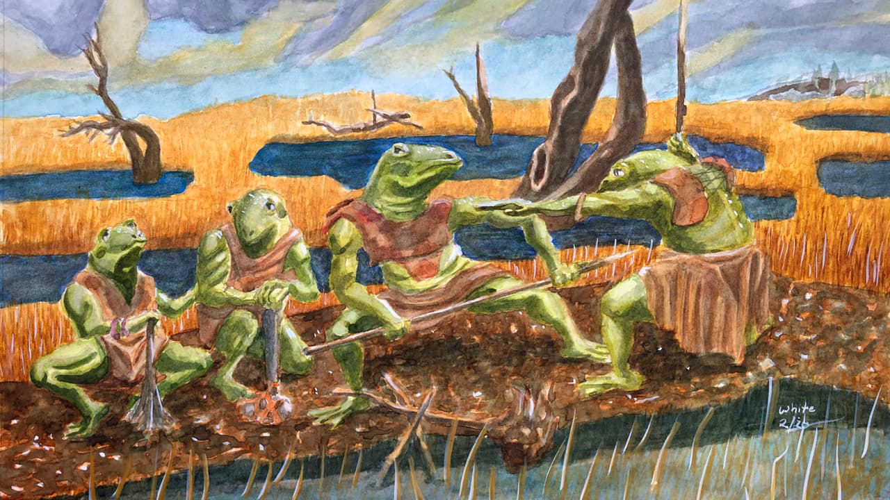 Fantasy Illustration of Bullywug Scouting Party.