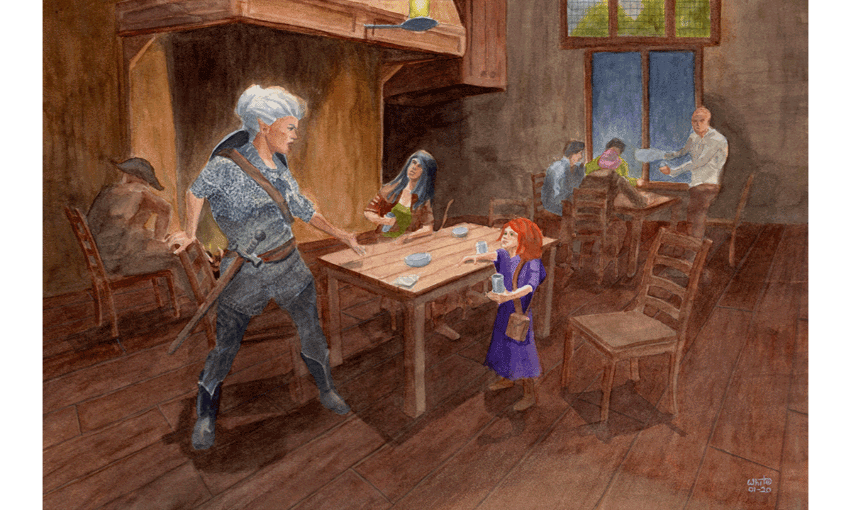 Illustration of two elves and a gnome meeting in a tavern
