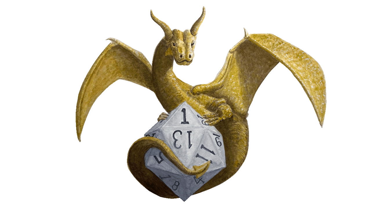 Illustration of a Dragon Sitting on a 20 Sided Dice