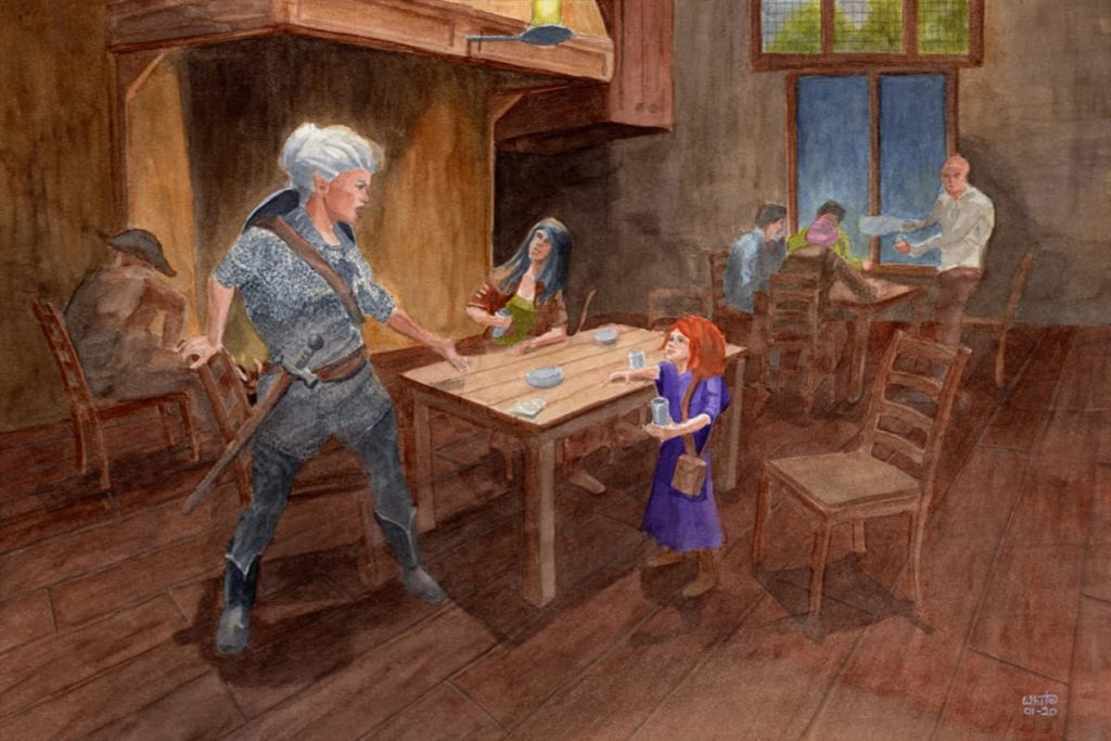 Elves and a gnome in a tavern fantasy illustration