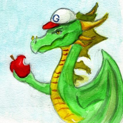 Cartoon of a dragon with an apple and a google hat