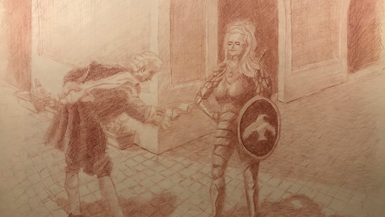 Fantasy drawing of fancy messenger delivering invitation to woman in armor