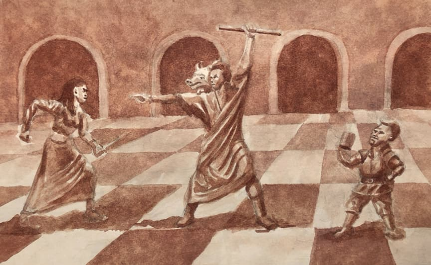 Fantasy Illustration of Wizard Casting A Spell At Woman While Dwarf Drinks And Watches