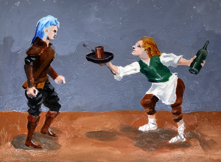 painting sketch of dwarf and halfling